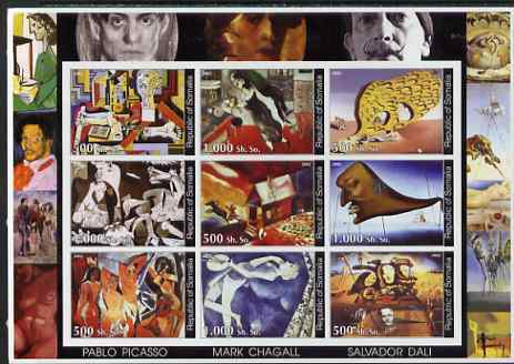 Somalia 2002 Modern Art imperf sheetlet containing set of 9 values unmounted mint. Note this item is privately produced and is offered purely on its thematic appeal (Picasso, Chagall & Dali)