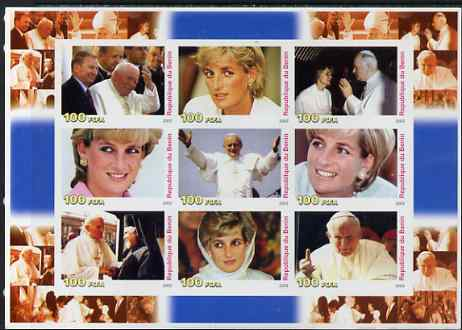 Benin 2003 Princess Diana & The Pope large imperf sheetlet containing set of 9 values unmounted mint. Note this item is privately produced and is offered purely on its th...