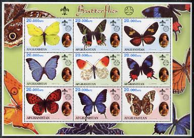 Afghanistan 2001 Butterflies perf sheetlet containing 9 values (also showing Baden Powell and Scout & Guide Logos) unmounted mint. Note this item is privately produced an...