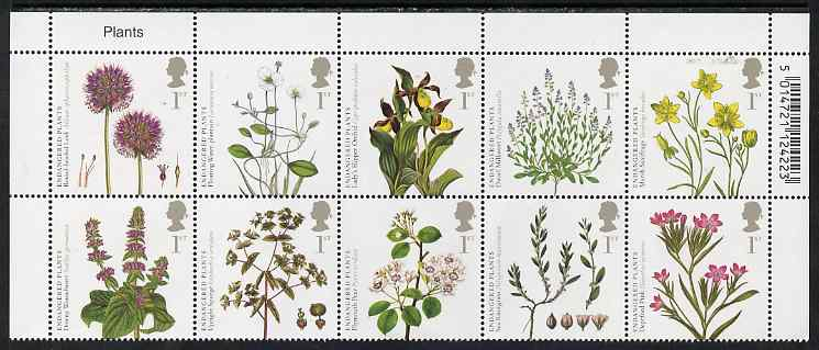 Great Britain 2009 Plants perf set of 10 in se-tenant block unmounted mint
