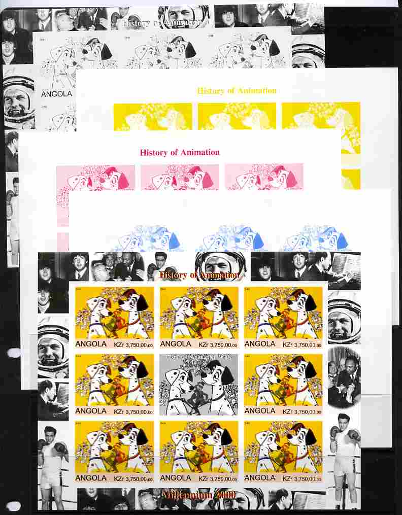 Angola 2000 Millennium 2000 - History of Animation #2 sheetlet containing 8 values plus label (Disney 101 Dalmations with Elvis, Beatles, Gershwin, N Armstrong etc in mar...