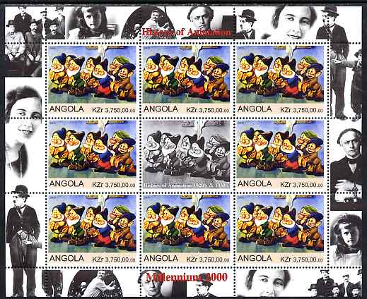 Angola 2000 Millennium 2000 - History of Animation #3 perf sheetlet containing 8 values plus label (the 7 Dwarfs) unmounted mint. Note this item is privately produced and...