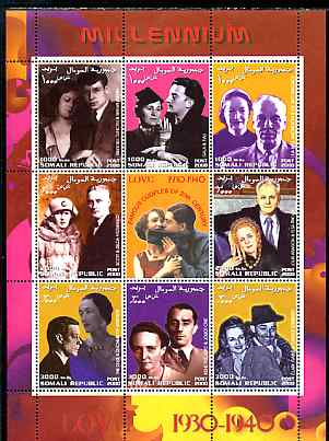 Somalia 2000 Love 1930-40 (Personalities) perf sheetlet containing set of 8 values plus label unmounted mint