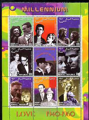 Somalia 2000 Love 1940-50 (Personalities) perf sheetlet containing set of 8 values plus label unmounted mint