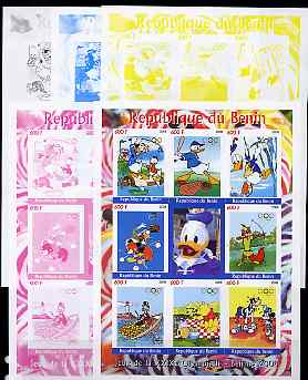 Benin 2008 Beijing Olympics - Disney Characters & Sports #2 sheetlet containing 8 values plus label, the set of 5 imperf progressive proofs comprising the 4 individual colours plus all 4-colour composite, unmounted mint