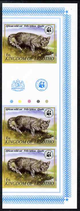 Lesotho 1981 WWF - Wild Cat 6s imperf gutter strip of 3 unmounted mint, only about 20 strips believed to exist, SG 468