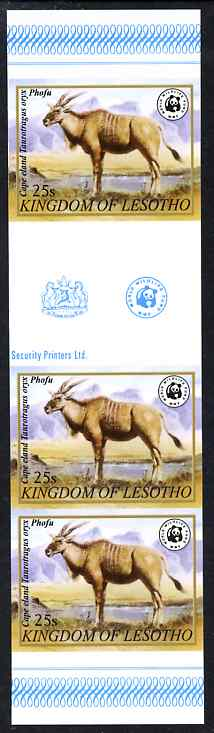 Lesotho 1981 WWF - Eland - Oryx 25s imperf gutter strip of 3 unmounted mint, only about 20 strips believed to exist, SG 470
