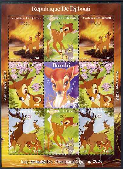 Djibouti 2008 Beijing & Vancouver Olympics - Disney - Bambi perf sheetlet containing 8 values plus label unmounted mint. Note this item is privately produced and is offered purely on its thematic appeal