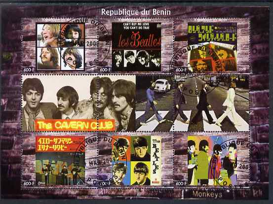 Benin 2009 The Beatles (The Cavern Club) perf sheetlet containing set of 6 values plus 3 labels fine cto used