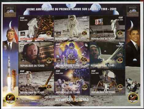 Chad 2009 40th Anniversary of Moon Landing perf sheetlet containing 9 values unmounted mint. Note this item is privately produced and is offered purely on its thematic appeal.