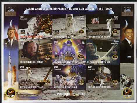 Chad 2009 40th Anniversary of Moon Landing imperf sheetlet containing 9 values unmounted mint. Note this item is privately produced and is offered purely on its thematic appeal.