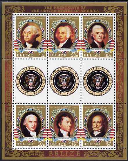 Belize 1986 United States Presidents perf sheetlet containing 6 values plus 3 labels unmounted mint SG 917-22