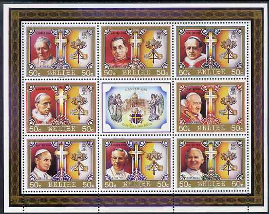 Belize 1986 Easter - 320th Century Popes perf sheetlet containing 8 values plus label unmounted mint SG 896-903
