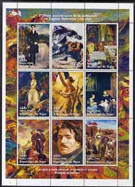 Niger Republic 1998 Paintings by Eugene Delacroix perf sheetlet containing 9 values (each with Phila France 99 logo) cto used