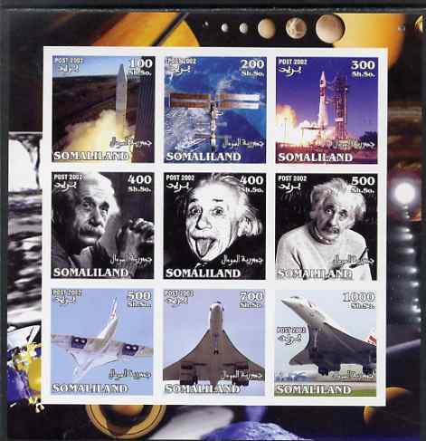 Somaliland 2002 Space, Einstein & Concorde imperf sheetlet containing set of 9 values unmounted mint. Note this item is privately produced and is offered purely on its thematic appeal