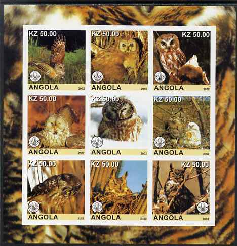 Angola 2002 Owls imperf sheetlet containing 9 values each with Scouts Logo, unmounted mint. Note this item is privately produced and is offered purely on its thematic app...