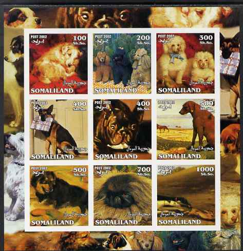 Somaliland 2002 Dogs imperf sheetlet containing 9 values unmounted mint