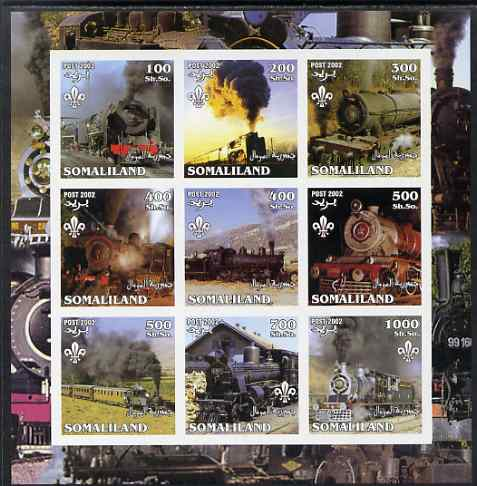 Somaliland 2002 Steam Trains #2 imperf sheetlet containing set of 9 values each with Scout Logo unmounted mint