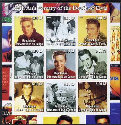 Congo 2002 25th Death Anniversary of Elvis Presley #1 imperf sheetlet containing 9 values, unmounted mint. Note this item is privately produced and is offered purely on its thematic appeal