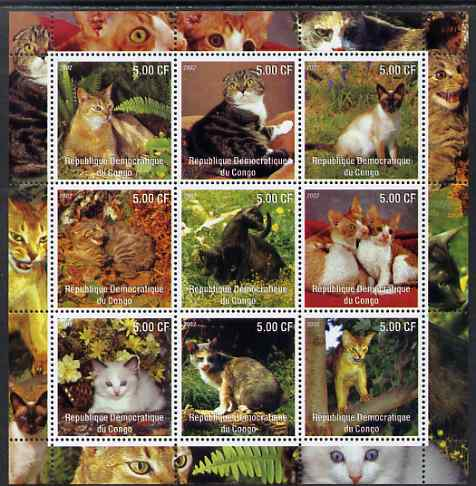Congo 2002 Domestic Cats perf sheetlet containing 9 values unmounted mint