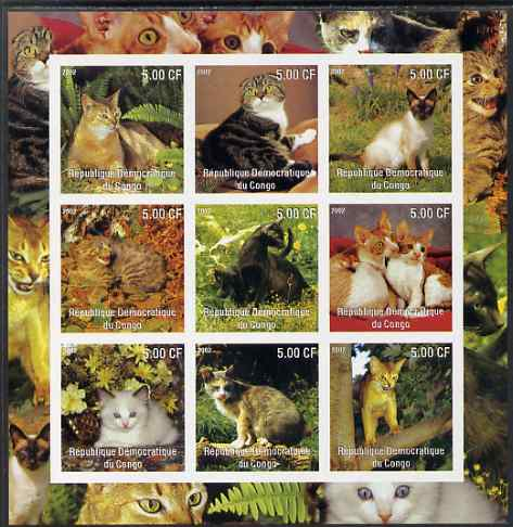 Congo 2002 Domestic Cats imperf sheetlet containing 9 values unmounted mint. Note this item is privately produced and is offered purely on its thematic appeal