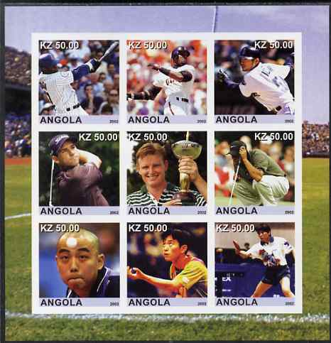 Angola 2002 Sports (Baseball, Golf & Table Tennis) imperf sheetlet containing 9 values unmounted mint