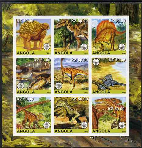 Angola 2002 Dinosaurs imperf sheetlet containing 9 values each with Scouts Logo unmounted mint. Note this item is privately produced and is offered purely on its thematic appeal, stamps on dinosaurs, stamps on scouts