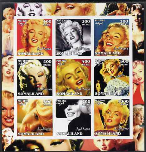 Somaliland 2002 Marilyn Monroe #1 imperf sheetlet containing 9 values unmounted mint. Note this item is privately produced and is offered purely on its thematic appeal