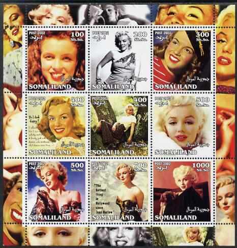 Somaliland 2002 Marilyn Monroe #2 perf sheetlet containing 9 values unmounted mint. Note this item is privately produced and is offered purely on its thematic appeal