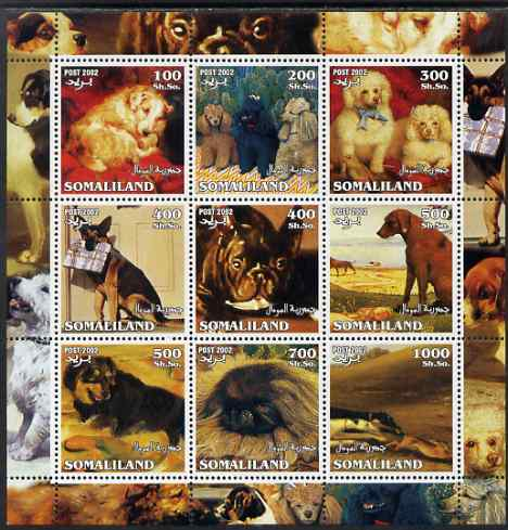 Somaliland 2002 Dogs perf sheetlet containing 9 values unmounted mint