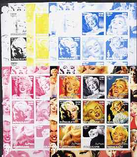 Somaliland 2002 Marilyn Monroe #1 sheetlet containing 9 values - the set of 5 imperf progressive proofs comprising the 4 individual colours plus all 4-colour composite, unmounted mint