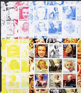 Somaliland 2002 Marilyn Monroe #2 sheetlet containing 9 values - the set of 5 imperf progressive proofs comprising the 4 individual colours plus all 4-colour composite, unmounted mint