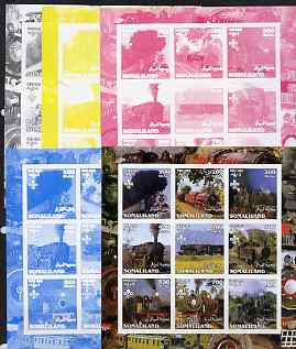 Somaliland 2002 Steam Trains #1 sheetlet containing set of 9 values each with Scout Logo - the set of 5 imperf progressive proofs comprising the 4 individual colours plus all 4-colour composite, unmounted mint