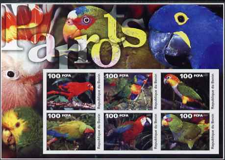 Benin 2003 Parrots large imperf sheetlet containing set of 6 values unmounted mint