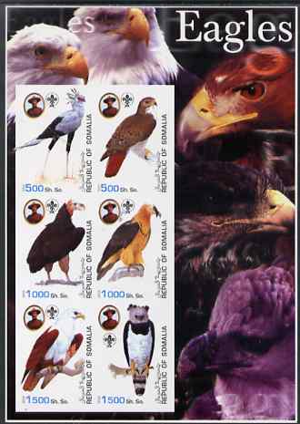 Somalia 2003 Eagles large imperf sheetlet containing set of 6 values each showing Baden Powell & Scout logo unmounted mint. Note this item is privately produced and is offered purely on its thematic appeal