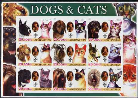 Afghanistan 2003 Dogs & Cats #2 imperf sheetlet containing set of 9 values each with Scout Logo unmounted mint. Note this item is privately produced and is offered purely...