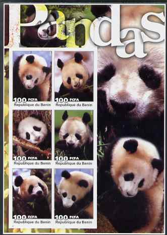 Benin 2003 Pandas large imperf sheetlet containing set of 6 values unmounted mint. Note this item is privately produced and is offered purely on its thematic appeal