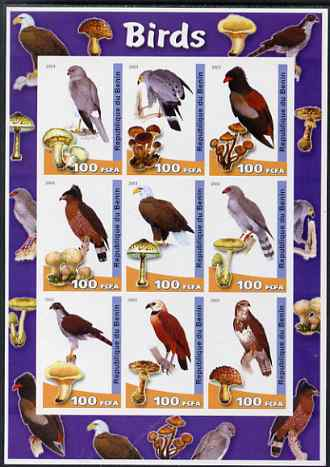 Benin 2003 Birds & Fungi large imperf sheetlet containing set of 9 values unmounted mint. Note this item is privately produced and is offered purely on its thematic appeal