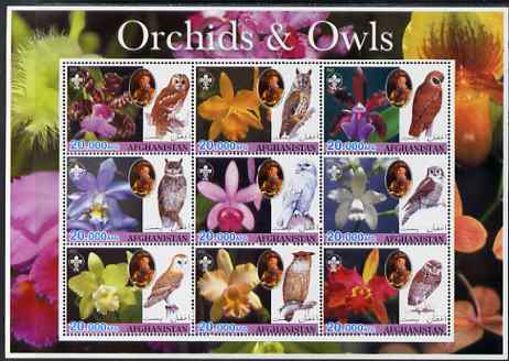 Afghanistan 2003 Orchids & Owls (with baden Powell) perf sheetlet containing set of 9 values unmounted mint. Note this item is privately produced and is offered purely on...
