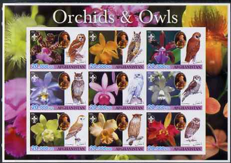 Afghanistan 2003 Orchids & Owls (with baden Powell) imperf sheetlet containing set of 9 values unmounted mint
