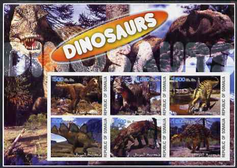 Somalia 2003 Dinosaurs large imperf sheetlet containing 6 values unmounted mint. Note this item is privately produced and is offered purely on its thematic appeal