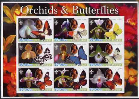 Afghanistan 2003 Orchids & Butterflies (with baden Powell) imperf sheetlet containing 9 values unmounted mint. Note this item is privately produced and is offered purely ...