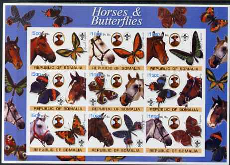Somalia 2003 Horses & Butterflies (also showing Baden Powell and Scout & Guide Logos) imperf sheetlet containing 9 values unmounted mint. Note this item is privately produced and is offered purely on its thematic appeal