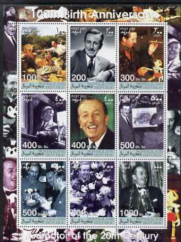 Somaliland 2001 Birth Centenary of Walt Disney perf sheetlet containing set of 9 values unmounted mint. Note this item is privately produced and is offered purely on its thematic appeal