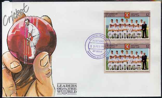 St Vincent - Grenadines 1985 Cricketers #3 - $2 Kent Team - imperforate pair on illustrated cover with first day cancellation, as SG 368 very few imperfs are known on cover