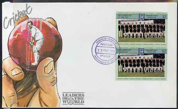 St Vincent - Grenadines 1985 Cricketers #3 - $2 Yorkshire Team - imperforate pair on illustrated cover with first day cancellation, as SG 369 very few imperfs are known on cover