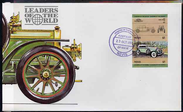 Nevis 1984 Cars #2 (Leaders of the World) $3 Pierce Arrow - imperforate se-tenant pair on illustrated cover with first day cancellation, as SG 209a very few imperfs are known on cover