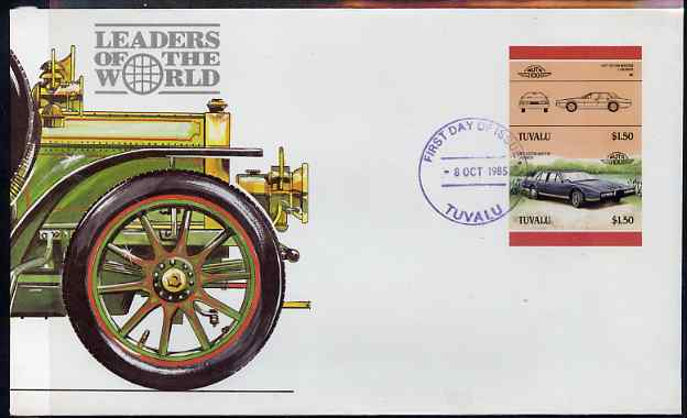 Tuvalu 1985 Cars #3 (Leaders of the World) $1.50 Aston Martin Lagonda - imperforate se-tenant pair on illustrated cover with first day cancellation, as SG 370a very few imperfs are known on cover