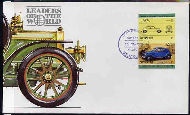 St Vincent 1985 Cars #3 (Leaders of the World) 1c Lancia Aprilia (1937) - imperforate se-tenant pair on illustrated cover with first day cancellation, as SG 862a very few imperfs are known on cover