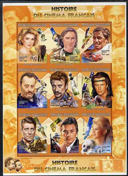 Madagascar 1999 French Cinema Stars imperf sheetlet containing complete set of 9 values unmounted mint
